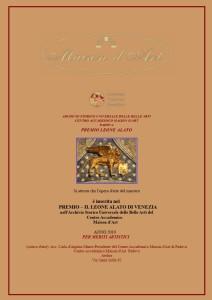Attestato Premio Leone Alato 2019.