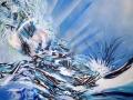8--NEL VIAGGIO  --smalto e acrilico su tela --80x80x04  -- 2013