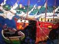 Barche a Kardamili-Acrilico a spatola su tela-100x100cm