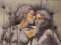 ARETUSA E ALFEO - Tecnica mista su tavola (penna a biro-colori acrilici)  68 x 50