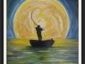 Il pescatore notturno Acrilico su tavola 50x70