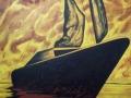 Veliero al tramonto,acrilico su tavola, 60x80