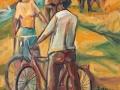 2000 - Incontro in bicicletta - Olio su tela - 45x55 -1