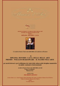 Diploma Honoris Causa Premio William Shakespeare b