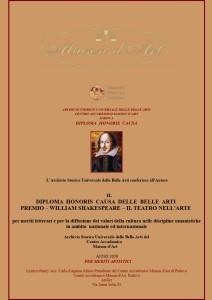 Diploma Honoris Causa Premio William Shakespeare b
