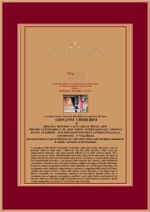 Premio Accademico Giotto e Dante Alighieri con testo